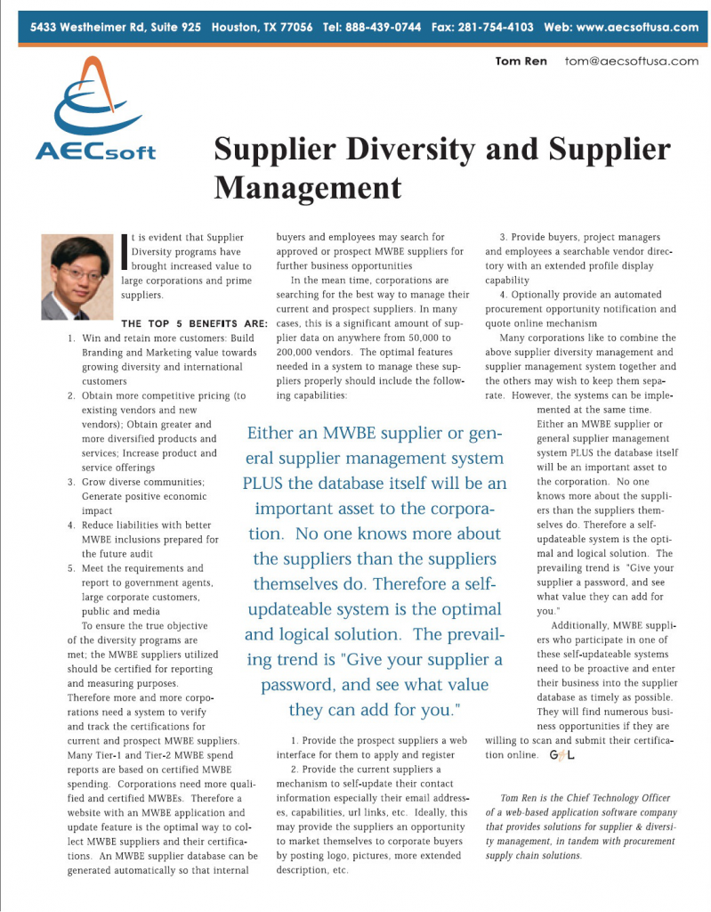 Supplier Diversity and Supplier Management